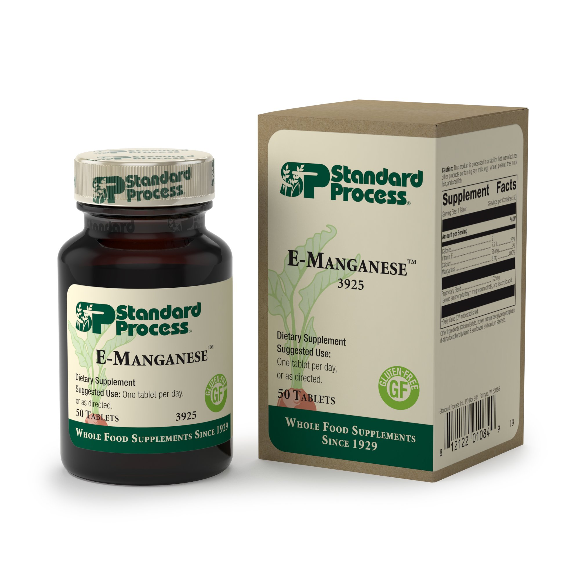 Standard Process - E-Manganese - Supports Healthy Pituitary Gland Function, Provides Vitamin E, Calcium, and Manganese, Gluten Free - 50 Tablets