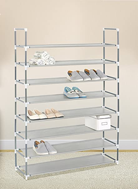Grey 8 Tiers Shoe Rack 40 Pairs Non Woven Fabric Shoe Tower Storage  Organizer Cabinet