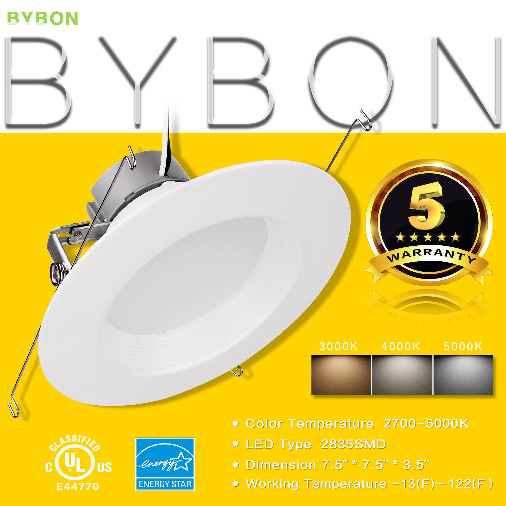 Bybon 4'' Dimmable Retrofit LED Downlight, 8W, UL and ENERGY STAR Classified (4000K, 8 Pack) by Bybon