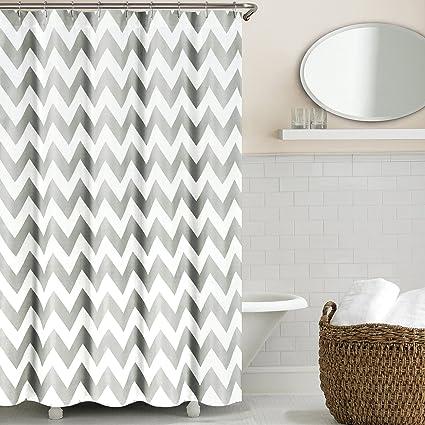 Echelon Home Chevron Shower Curtain Feather Grey