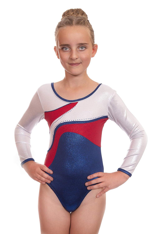 Vincenza Dancewear Justaucorps de Gymnastique à Manches Longues métallisée Brillante pour Filles, idéale pour Le Ballet et la Danse