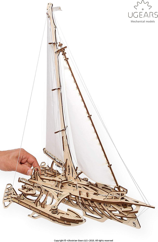 UGEARS Trimarano a Vela Merihobus Modello in Legno 3D Puzzle per Adulti Modello Meccanico Rompicapo da Costruire da Collezionare