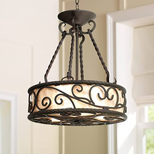 Natural Mica Collection Walnut Pendant Chandelier 17 Wide Rustic Country Cottage Scroll Fixture for Dining Room House Foyer Kitchen Island Entryway Bedroom Living Room – John Timberland