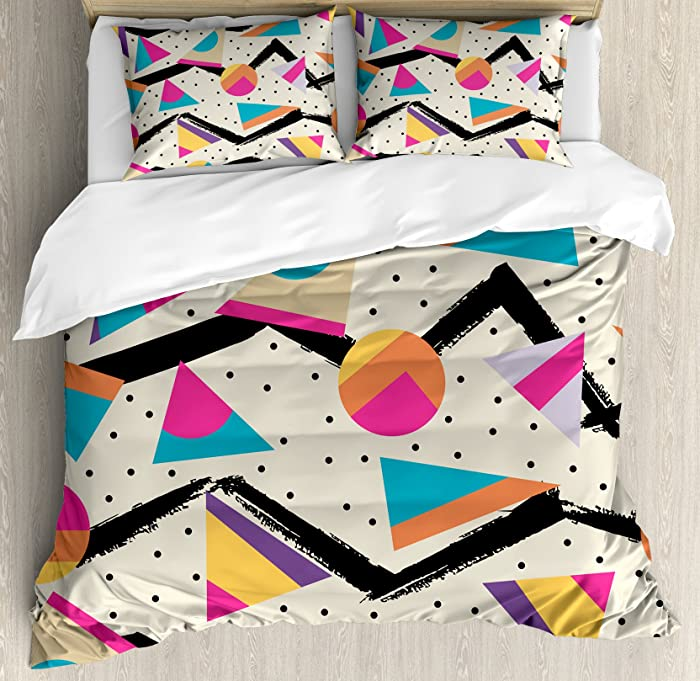 Ambesonne Indie Duvet Cover Set, Eighties Memphis Fashion Style Geometric Abstract Colorful Design with Dots Funky, Decorative 3 Piece Bedding Set with 2 Pillow Shams, Queen Size, Cream Pink