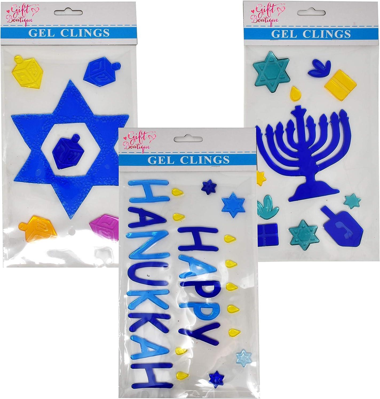 Hanukkah Window Clings Includes 3 Gel Decorations Happy Hanukkah, Menorah & Star of David