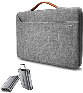 tomtoc 360 Protective Laptop Sleeve Case Bag with USB C to USB/Thunderbolt 3 to USB 3.0 Adapter for 15-16'' MacBook Pro,Dell XPS 15, Surface Book 3/2 15, The New Razer Blade 15