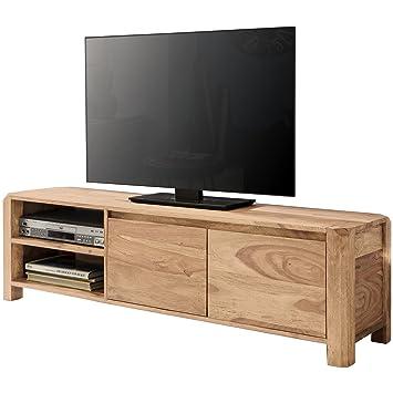 WOHNLING Lowboard Massivholz Akazie Kommode 140 Cm TV Board Ablage Föcher  Landhaus Stil