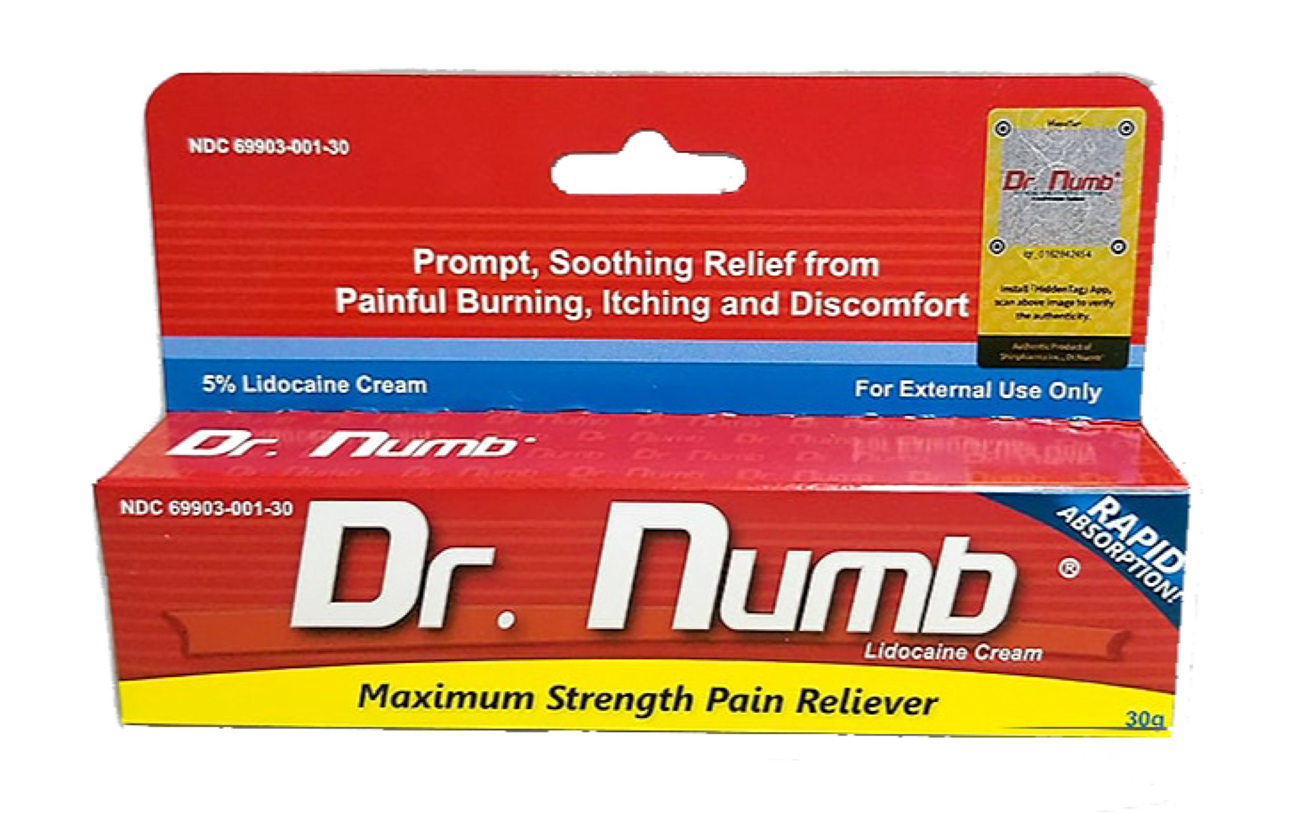 1 Tube of Dr. Numb Maximum Topical Anesthetic Anorectal Cream, Lidocaine 5% ~ Net Wt 1 Oz (30g) by Dr. Numb