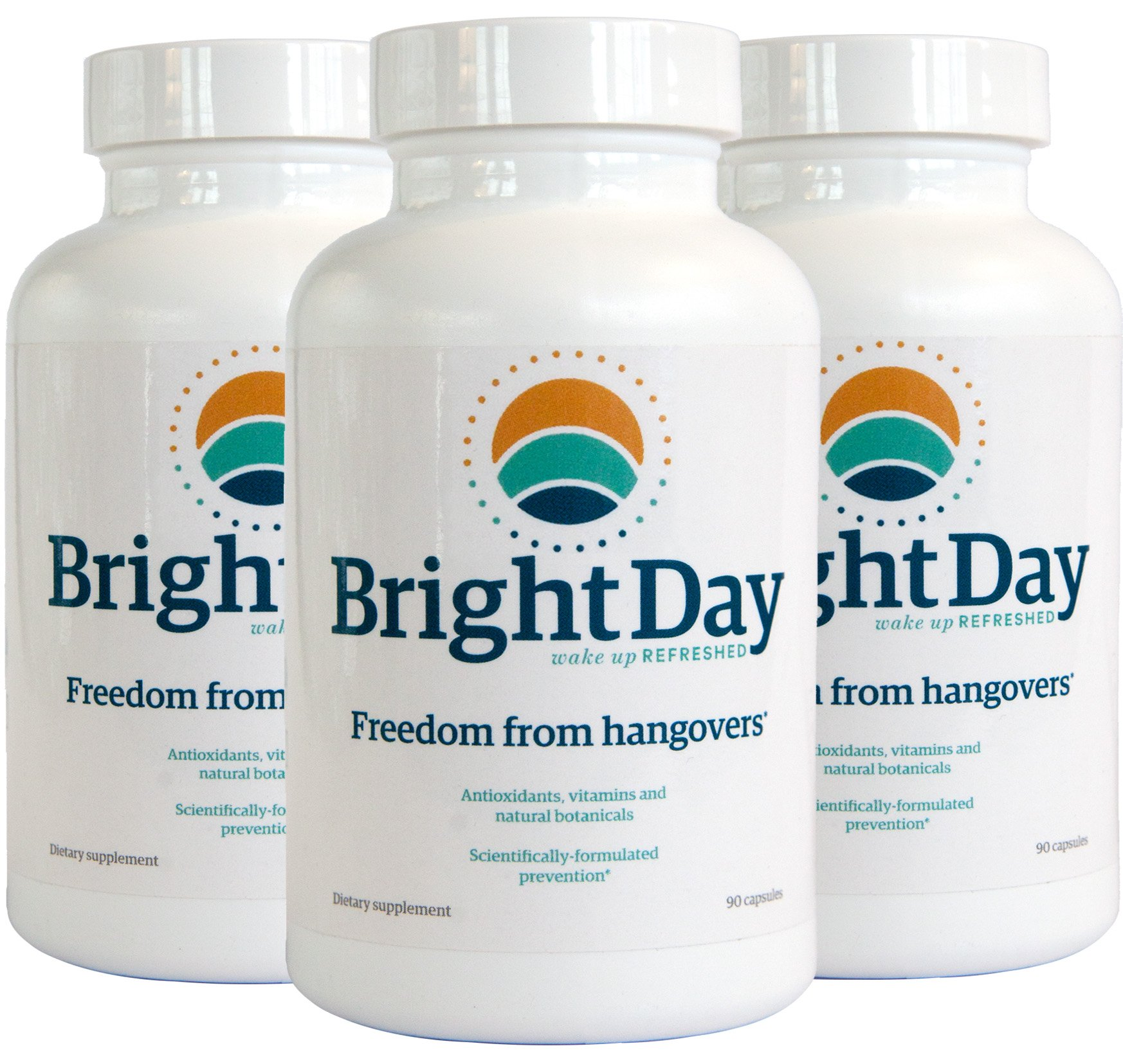 BrightDay Hangover Prevention Recovery Relief Pills (90 Capsules) -Alcohol Metabolism -Better Morning After -Liver Support -FDA Compliant and Made in the USA -Hangover are a Thing of the Past (3 Pack)