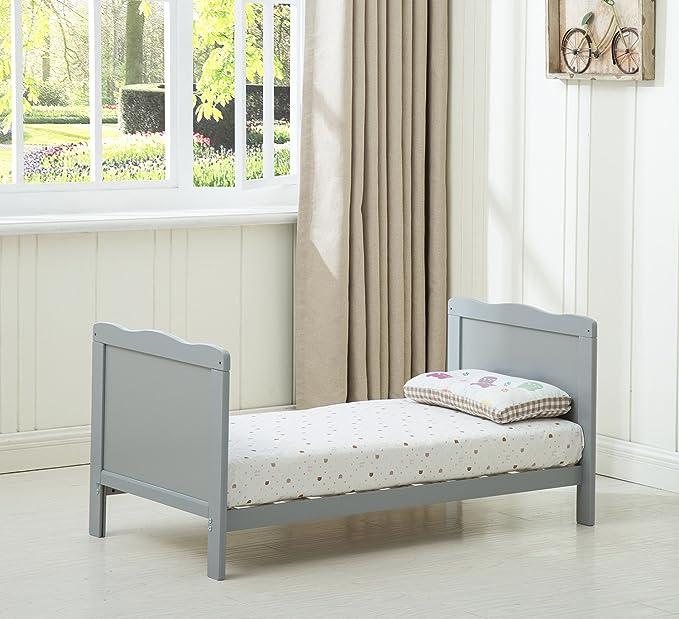 Mcc® Orlando – Cuna con lados, cama cuna para niños con colchón repelente al agua, cama de madera (color gris)