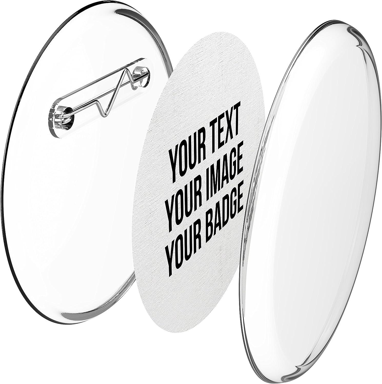 Chapas plásticas con alfiler incluido (a presión) hágalo usted mismo, sin necesidad de máquina (Ø 56 mm, 10 piezas) - Conjunto de chapas con alfiler y papel- pre cortado A4