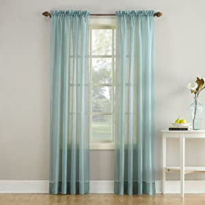 """No. 918 28049 Erica Crushed Texture Sheer Voile Rod Pocket Curtain Panel, 51"""" x 84"""", Mineral"""