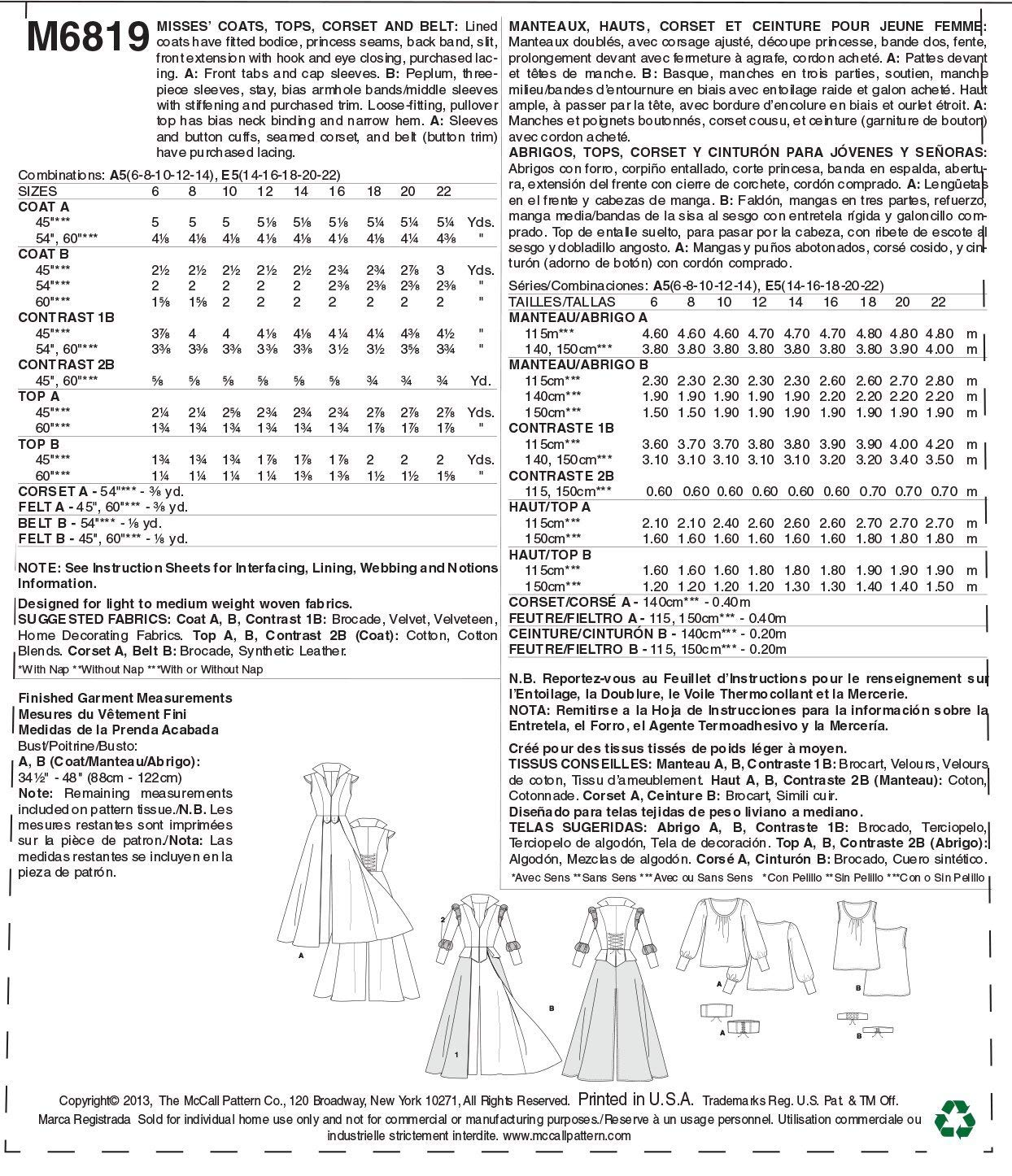 Amazon.com: McCall Pattern Company M6819 Misses Costumes Sewing Template, Size A5 (6-8-10-12-14): Arts, Crafts & Sewing