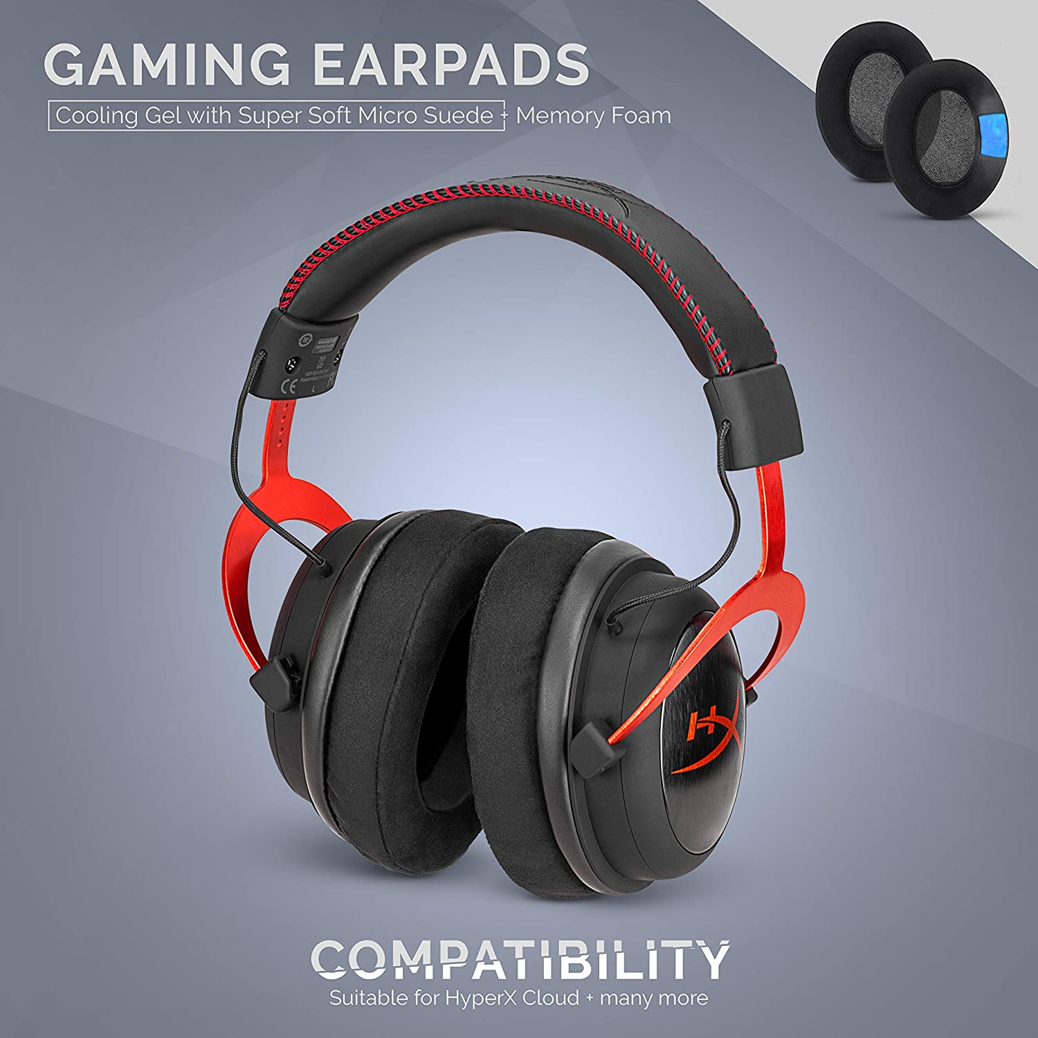 ATH M50X See List Brainwavz Gaming Earpads for SteelSeries Arctis Cooling Gel SHURE /& Other Headphones Memory Foam Micro Suede HyperX Cloud /& Other Gaming Headsets Oval Ear Pad