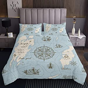 Erosebridal Nautical Coverlet Set Retro Sailboat Bed Cover, Kids Boys Girls Anchor Compass Bedspread Queen Size, Blue Ocean World Map Quilted Coverlet for Teens Adult, Vintage Style Quilt for Bedroom