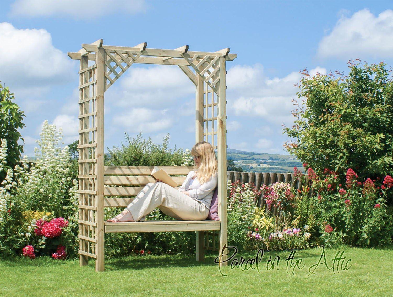 Arbour Garden asiento banco de esquina metal works Pergola ...