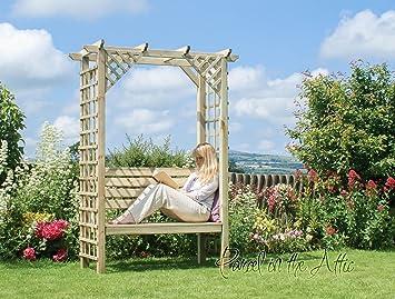 Garten gartenlaube sitz pergola spalier holz bank arch ecke