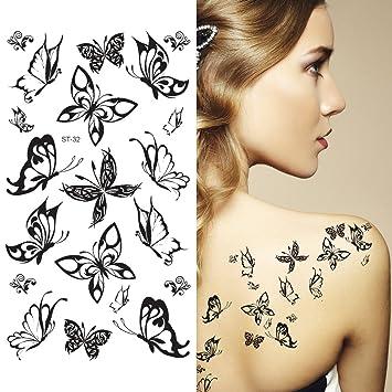 c767e950d Amazon.com : Supperb Mix Butterflies Butterfly Temporary Tattoos (Small  Black Butterflies) : Beauty
