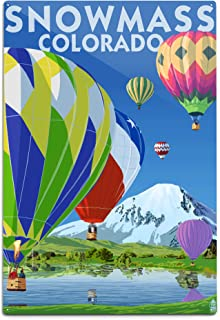 product image for Lantern Press Snowmass, Colorado, Hot Air Balloons (12x18 Aluminum Wall Sign, Wall Decor Ready to Hang)