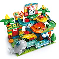 REMOKING Marble Run Building Blocks, STEM 2 in 1 Compatible Blocks Models with 8 Marble Balls,Educational Race Track Building Block Set, Great Gifts for Kids 6 Years and up(259Pcs)