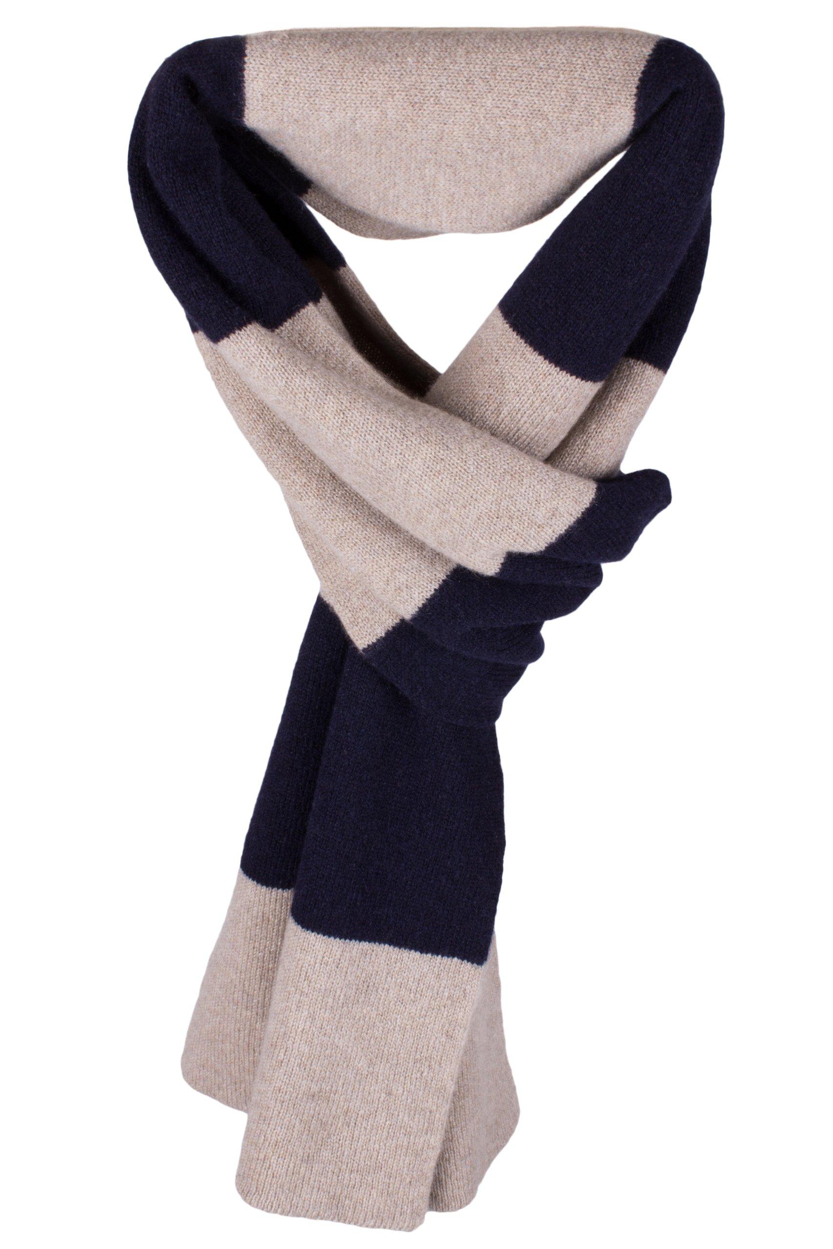 Ladies Striped 100% Cashmere Scarf - Natural / Dark Navy - hand made in Scotland by Love Cashmere