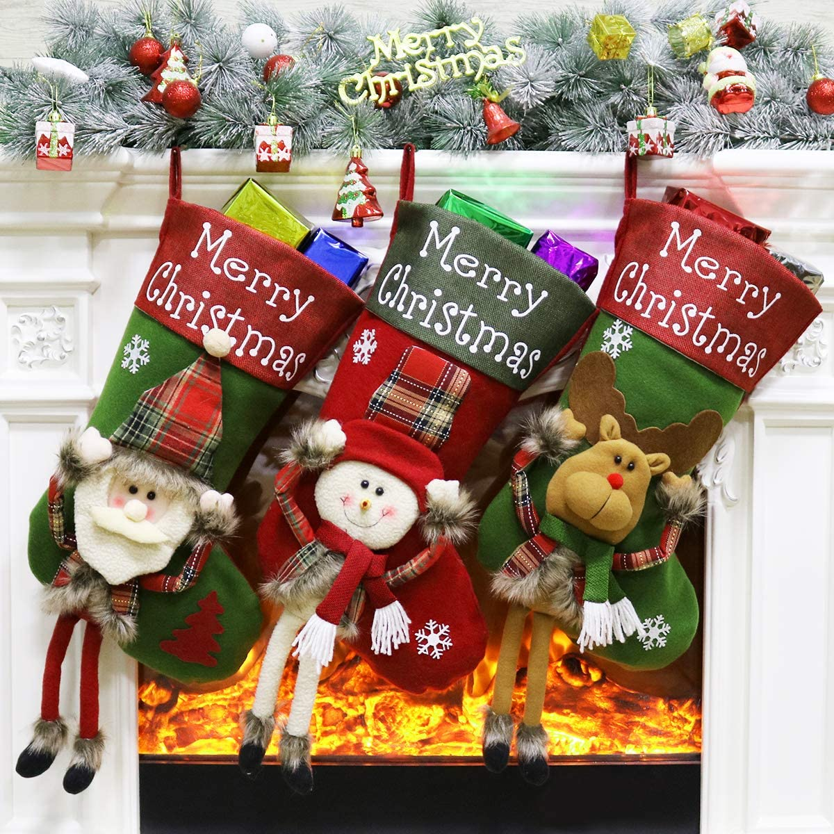 "Aitey Christmas Stocking, 18"" Big Stockings Set of 3 Xmas Character Santa, Snowman, Reindeer 3D Plush Christmas Home Decorations and Party Accessory for Kids (Long Leg)"