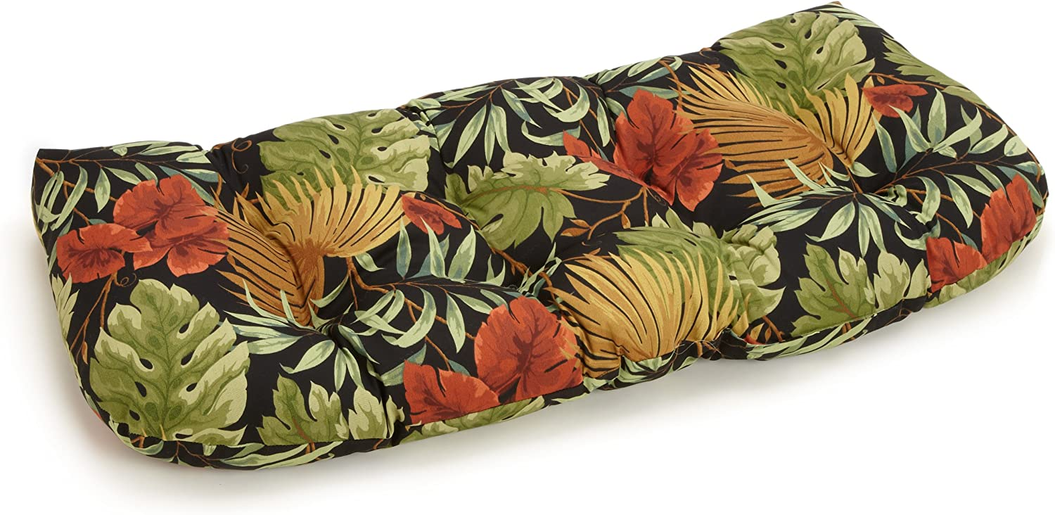 Blazing Needles Outdoor Spun Poly 19-Inch by 42-Inch by 5-Inch All Weather UV Resistant Love Seat Cushion, Tropique Raven
