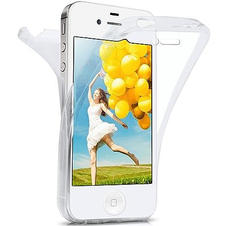 moex iPhone 4S | Hülle Silikon Transparent 360 Grad Double Side Cover Dünne Schutzhülle Slim Handyhülle für iPhone 4/4S Case