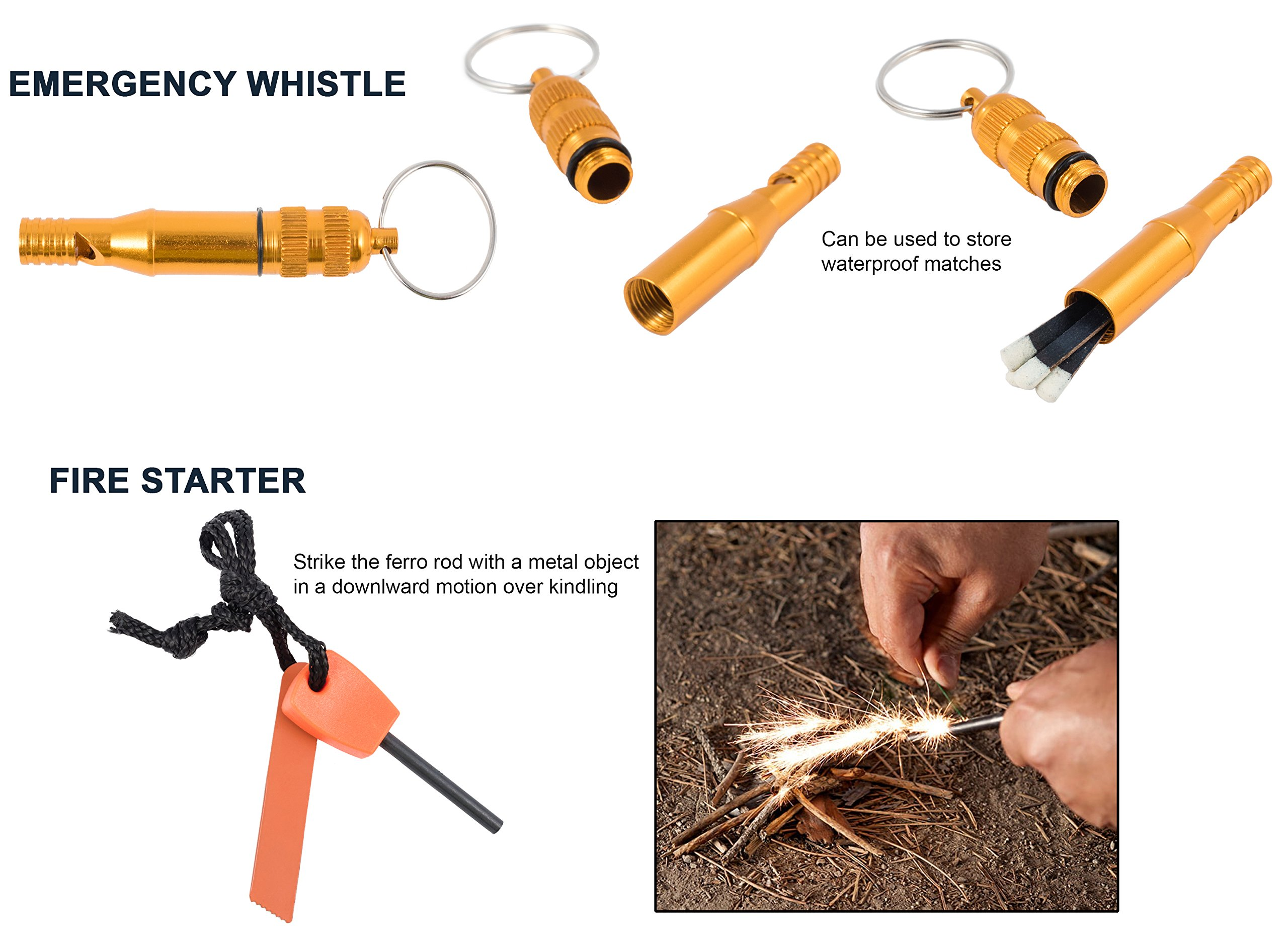 Emergency Survival Kit Bundle.11 Items. Pocket size. Essential Camping Survival Gear, Folding knife, Fire Starter, Compass, Paracord Survival Bracelet, Emergency Blanket, Whistle, Ebook, and more by Booyah Basix (Image #7)