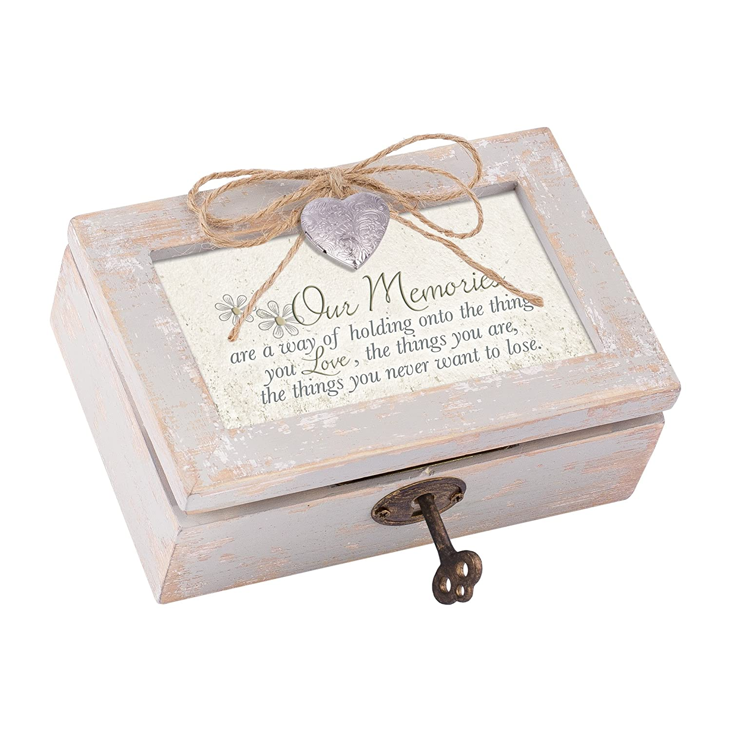 Our Memories Holding Your Love Distressed Wood Locket Jewelry Music Box Plays Tune Wonderful World Cottage Garden LP6N