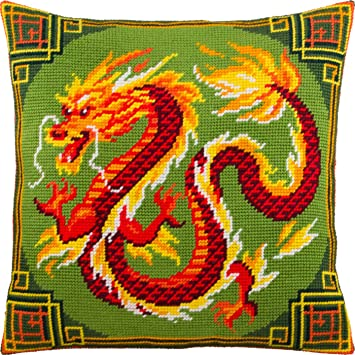 Needlepoint Kit Corfu European Quality Printed Tapestry Canvas Throw Pillow 16/×16 Inches