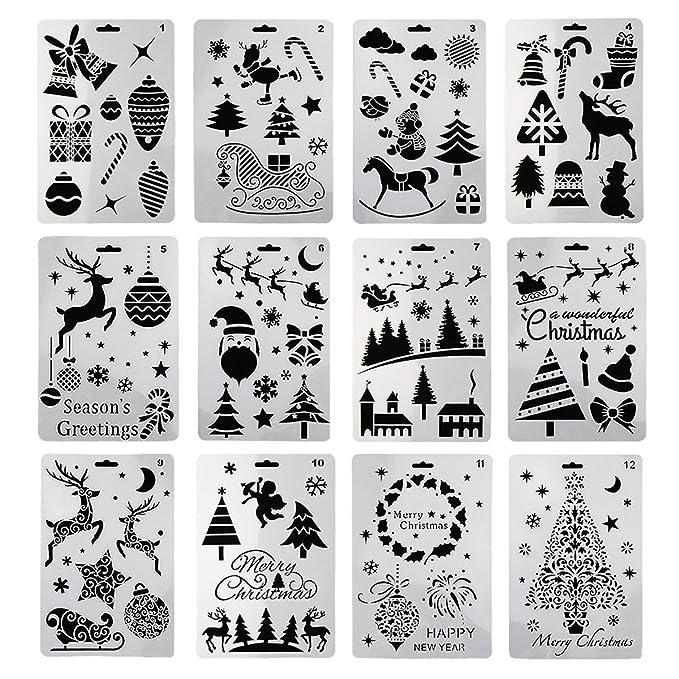 12 plantillas de pintura plástica, diseño de Papá Noel, muñeco de ...