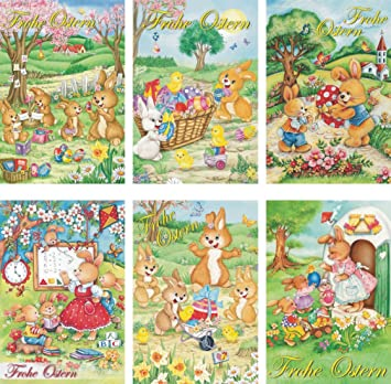 Weihnachtskarten 6 Motive Grußkarten Klappkarten Karten Vintage Retro 22-4610