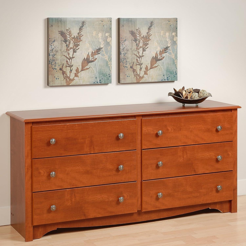 Amazon com premium traditional modern dresser six drawer chest for bedroom divider furniture home storage closet cherry kitchen dining
