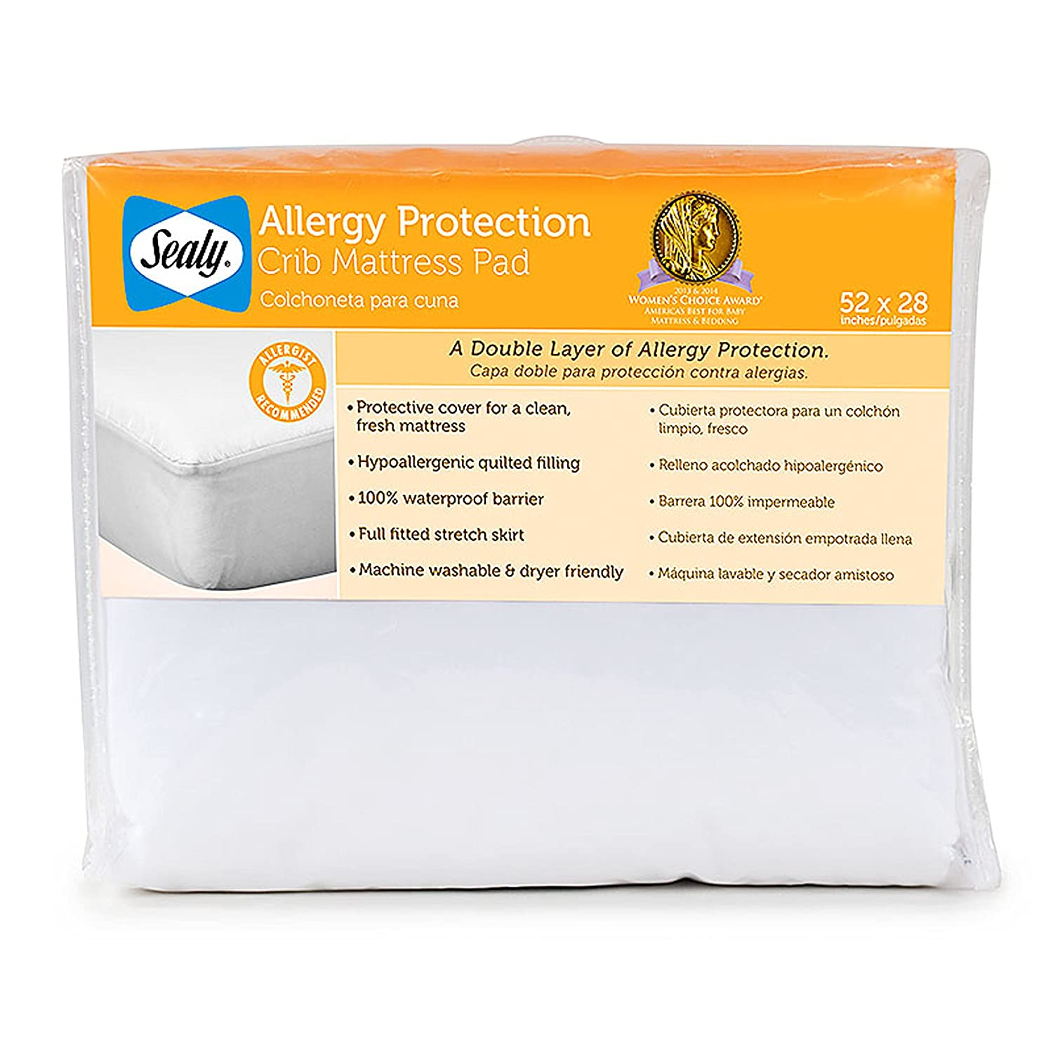 Amazon.com : Sealy Allergy Protection Crib Mattress Pad (Discontinued by Manufacturer) : Baby
