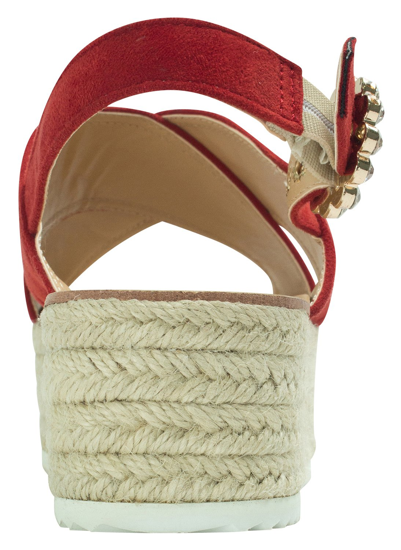 AnnaKastle Womens CrissCross Espadrille Platform Slingback Sandal B071KFW78Z 6.5 B(M) US|Red