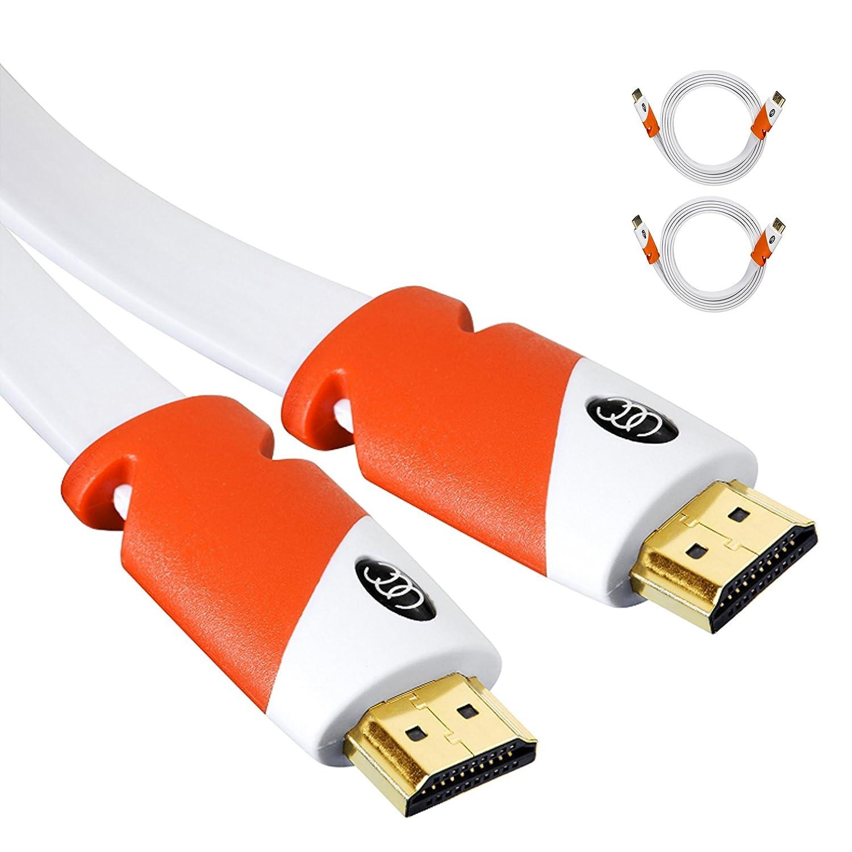 Cable plano HDMI - 2.0 - Cable HDMI plano de alta velocidad, por Ultra claridad - CL3 Rated - Canal de Retorno de Audio (Arc) 4 K Ultra HD 2160p/Ancho de ...