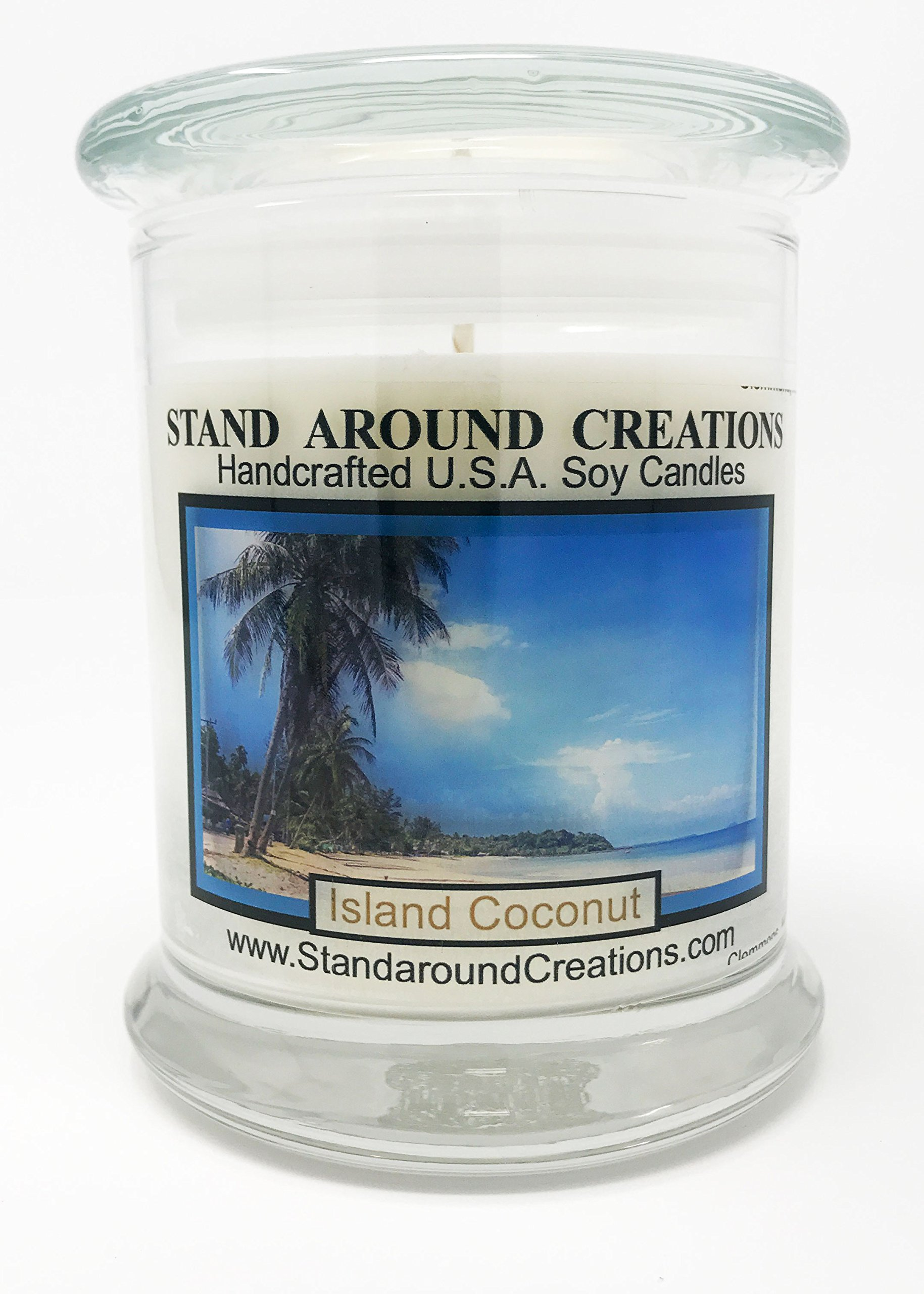 Premium 100% All Natural Soy Candle - 12 oz. Status Jar - Island Coconut: Fresh coconut, sweet pineapple w/a hint of creamy vanilla.