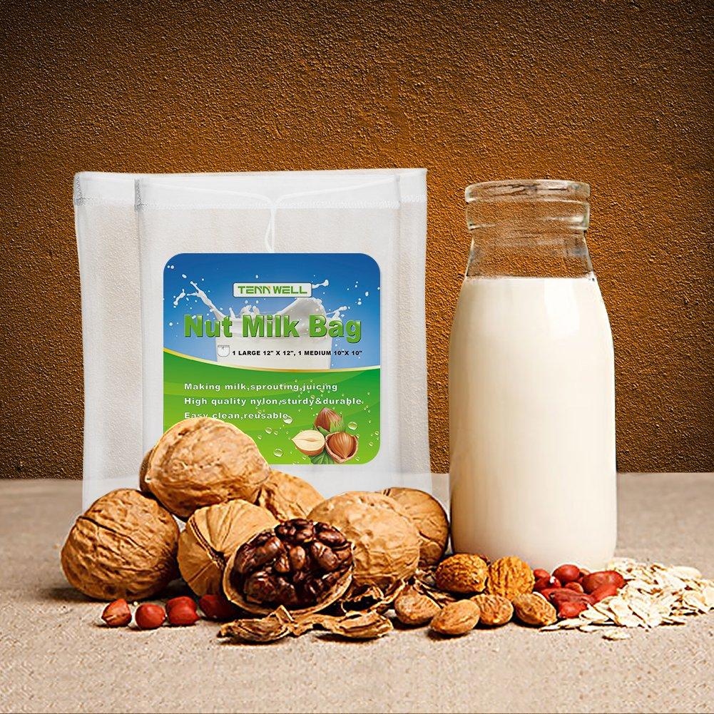Tuerca de leche bolsa de Tenn, comercial grado alimenticio fino de malla de Nylon reutilizable bolsa de leche de almendras, prefecto para colador de ...