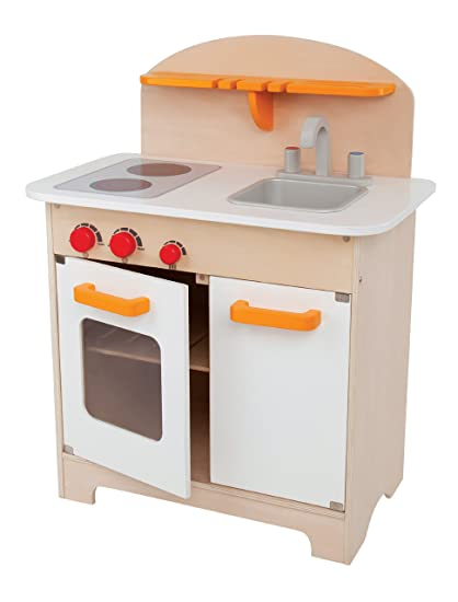 Amazon Com Hape Gourmet Kitchen Kid S Wooden Play Kitchen In White