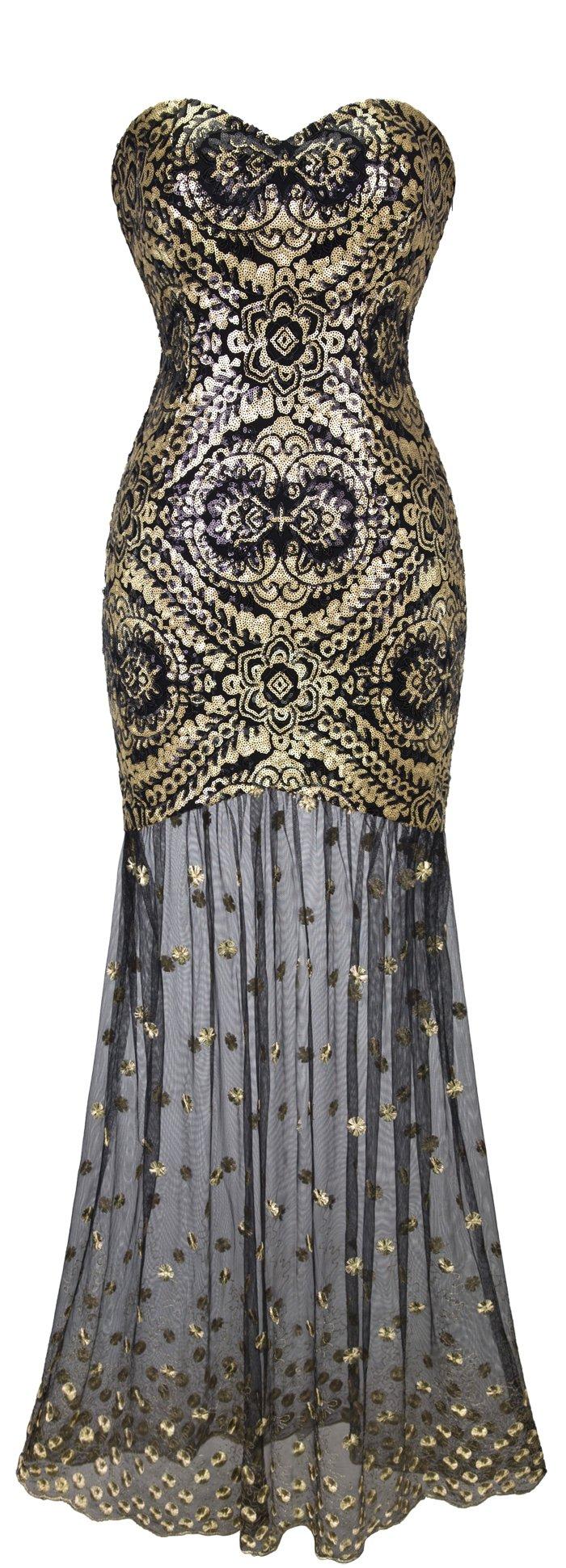 Angel-fashions Women's Sleeveless V-Neck Sequins Lace Up Patterned Prom Dress Medium