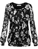 BaiShengGT Women's Floral Printed Pleated Front Lace Long Sleeve Blouse T-Shirt