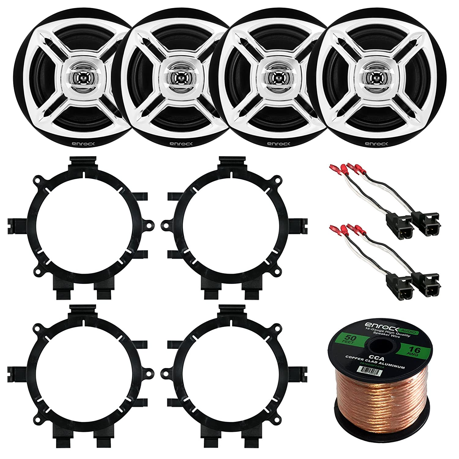 "Car Speaker Bundle Combo: 2 Pairs of Enrock EKMR1672C 6.5"" Inch 200 Watts 2-Way Black/Chrome Car Stereo Component Speaker W/ Adapter Brackets + Wiring Harness + Enrock 50 Foot 16 Gauge Speaker Wire"