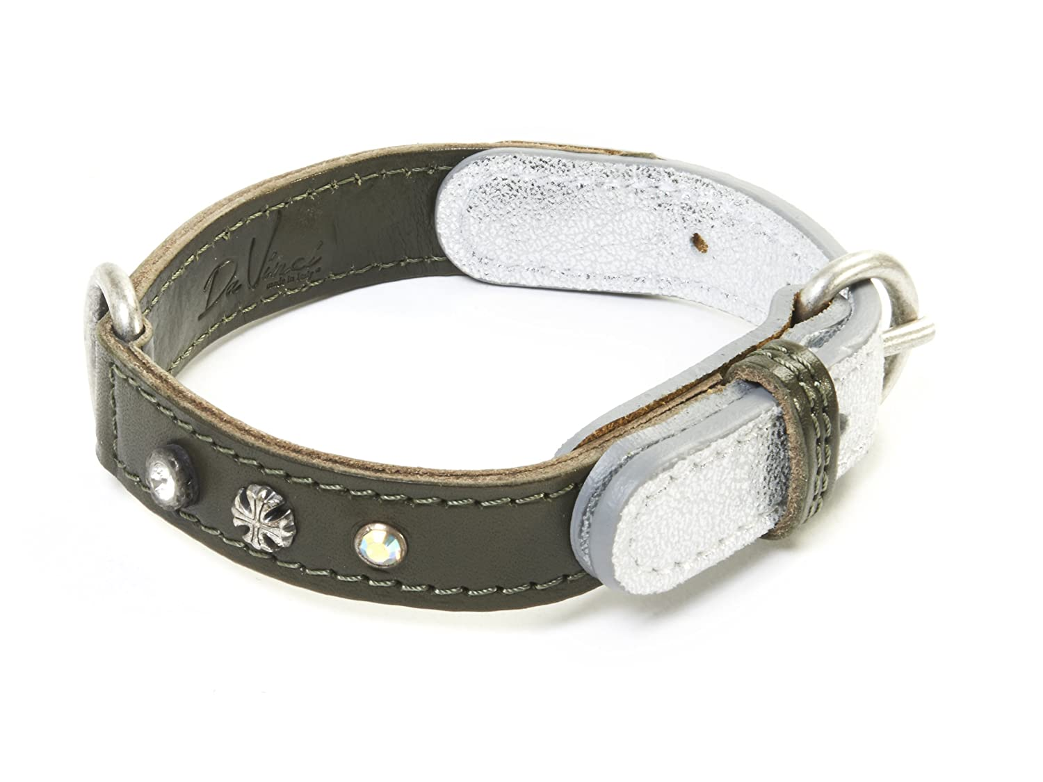 da Vinci Ginevra Collier pour Chien en Cuir avec Clous et Strass, 60 cm, Marron Carbone pet products uk DV3.3.60BR