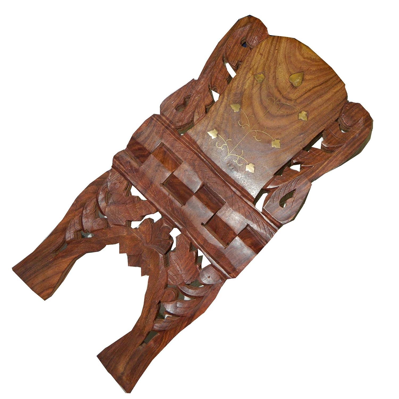 indischerbasar.de Porte-livre pliable 45cm en bois de Shisham avec des marqueteries en laiton de motifs floraux Artisanat dart indien