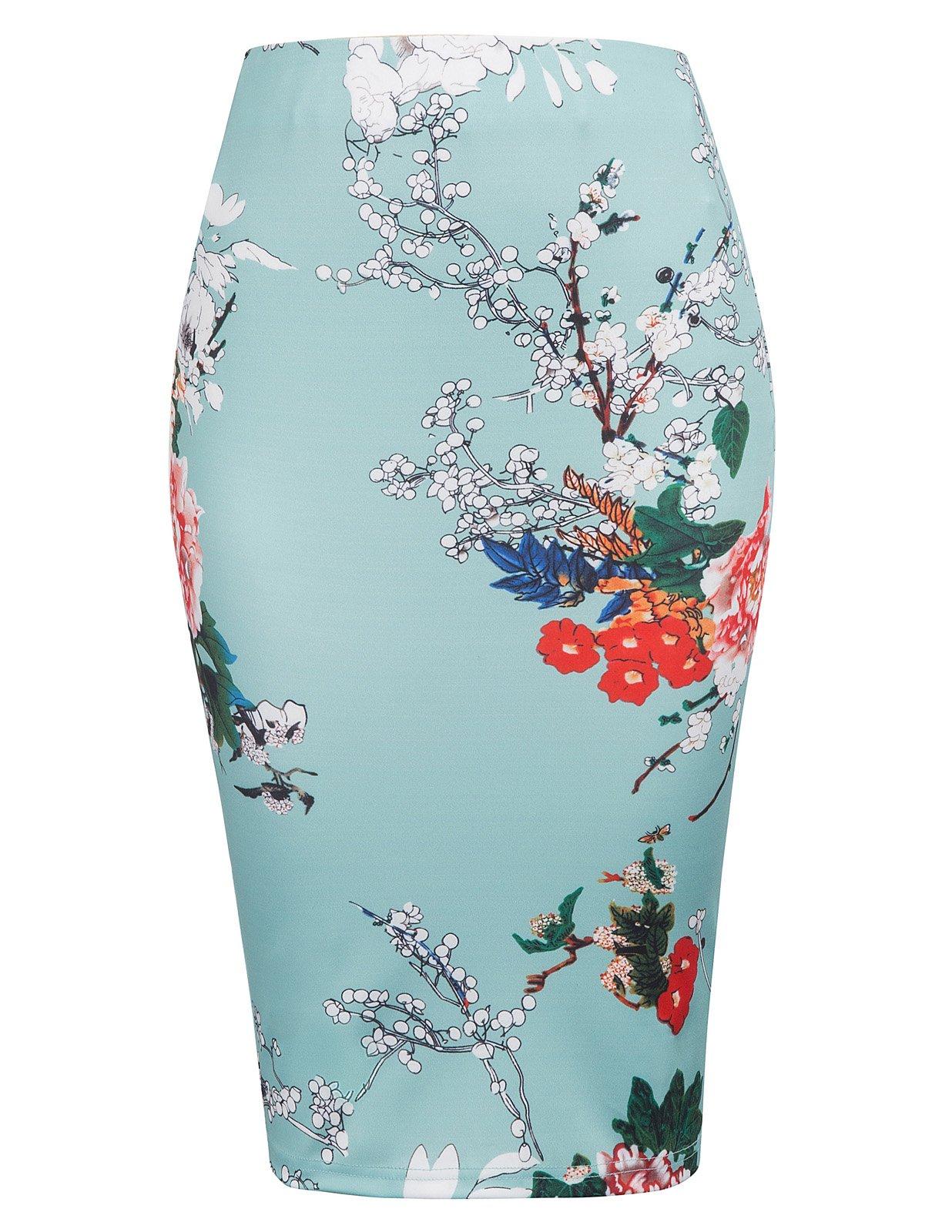 Kate Kasin Women's High Waist Floral Midi Pencil Skirt Vintage Office Wear Bodycon Skirt KK837-3 S