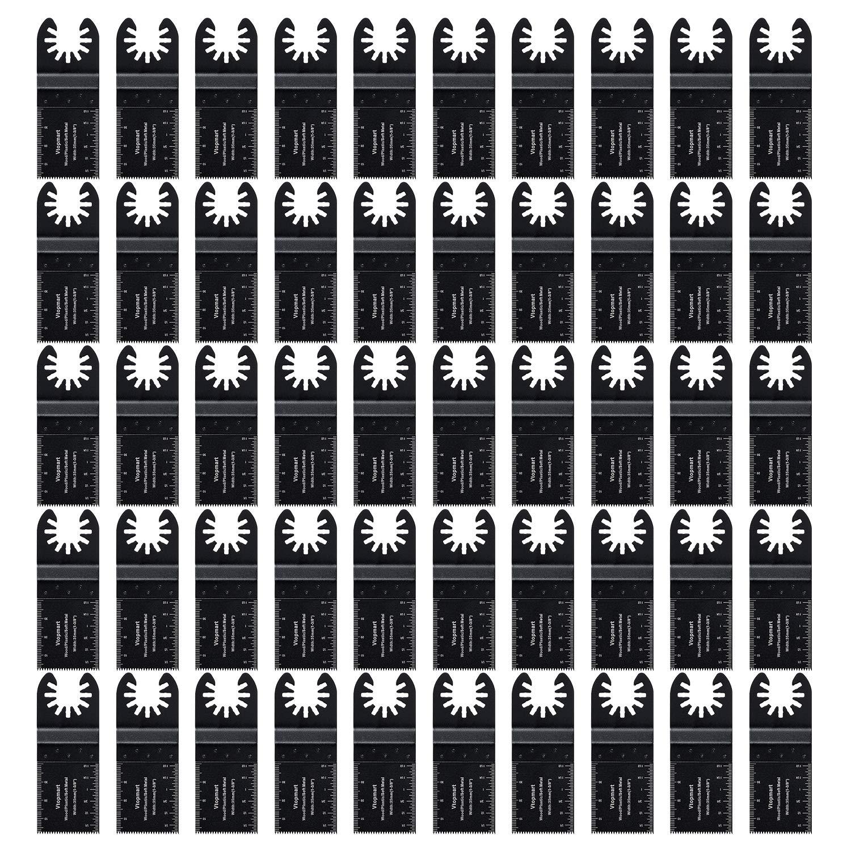 Vtopmart 50 Wood Oscillating Multitool Quick Release Saw Blades Compatible with Fein Multimaster Porter Cable Black & Decker Bosch Dremel Craftsman Ridgid Ryobi Makita Milwaukee Dewalt Rockwell by Vtopmart