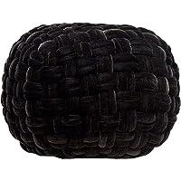 casamia Velour Pouf zitpoef zitpoef Ø 55 cm extra hoog hoogte 37 cm, handgeknoopt kleuren kruk zwart