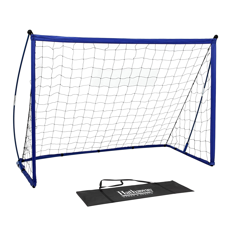 Hathaway StrikerポータブルサッカーゴールシステムwithブラックNet &ロイヤルブルートリム、グラウンドStakes & Carry Bag , 4 ' x 6 'ブルー、ブラック、35.4