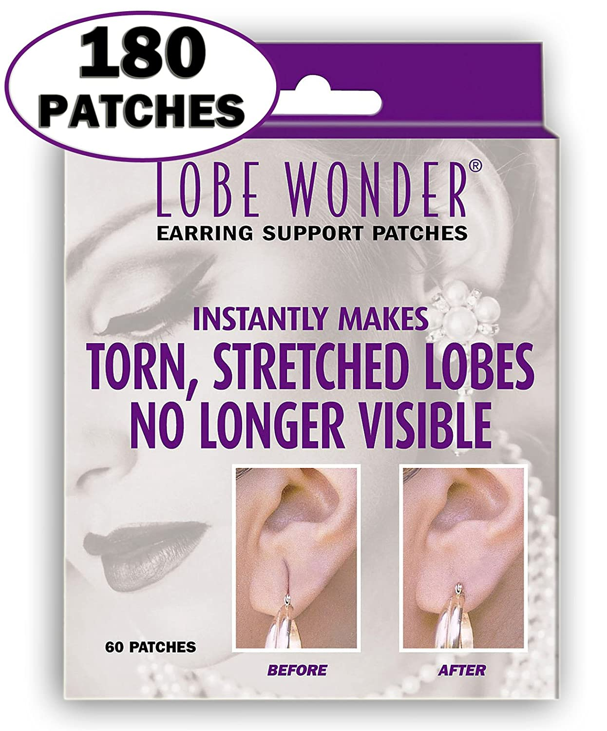 Lobe wonder Repair Earring Support Patches 60 Count (3 Pack) 180P